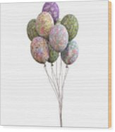 Balloons Classic Floral Wood Print