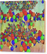 Balloons Everywhere Wood Print