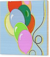 Balloons Of Loose Colors Wood Print