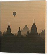 Balloons Over Bagan, Burma Wood Print
