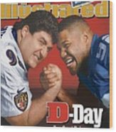 Baltimore Ravens Tony Siragusa And New York Giants Michael Sports Illustrated Cover Wood Print