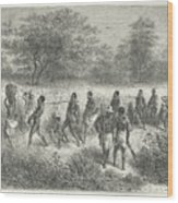 Band Of Captives In The Village Of Mbame Wood Print