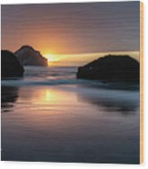 Bandon Beach Sunset 5 Wood Print