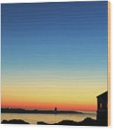 Bandon Lighthouse Twilight Panorama Wood Print