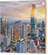 Bangkok City At Sunset, Mahanakorn Wood Print
