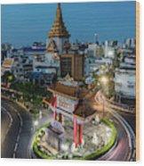 Bangkok Traffic Circle Wood Print