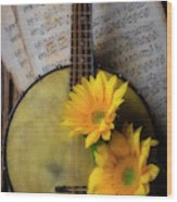 Banjo And Two Sunflowers Wood Print
