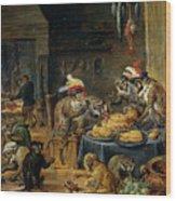 Banquete De Monos   Wood Print