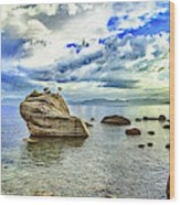 Bansai Rock, Lake Tahoe, Nevada, Panorama Wood Print