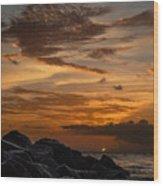 Barbados Sunset Clouds Wood Print