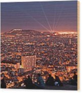 Barcelona At Night With People Wood Print