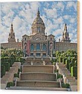 Barcelona Museu Nacional Dart De Wood Print