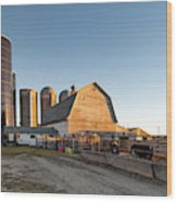 Barn And Silos Wood Print