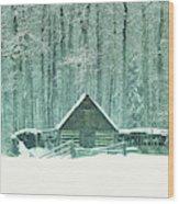 Barn In Snowfall Wood Print