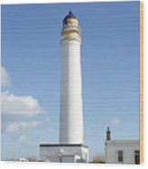 Barns Ness Lighthouse In Summer Wood Print
