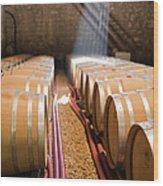 Barrels In Wine Cellar Wood Print