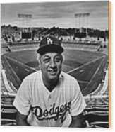 Baseball Manager Tommy Lasorda Portrait Wood Print