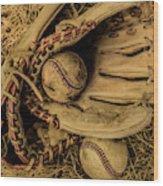 Baseball Mug Wood Print