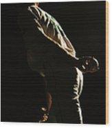 Baseball Pitcher Holding Ball Behind Wood Print