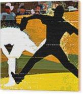 Baseball Pitcher Throwing Baseball Wood Print