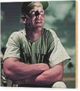 Baseball Player Mickey Mantle Wood Print