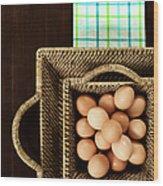 Basket Of Brown Eggs Wood Print