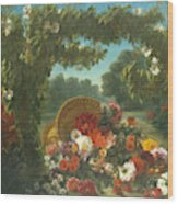 Basket Of Flowers  Wood Print
