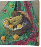 Basket Of Tangerines And Bananas Wood Print