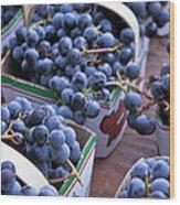 Baskets Of Grapes Wood Print