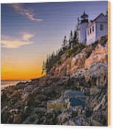 Bass Harbor Lighthouse At Sunset, In Wood Print