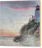 Bass Harbor Lighthouse On A Chart Wood Print