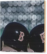 Batting Helmets Wood Print
