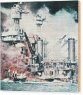 Battleships Burning At Pearl Harbor Wood Print