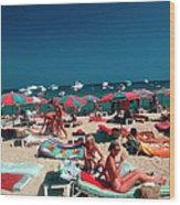 Beach At St. Tropez Wood Print