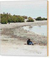 Beach Goers-The Salton Sea in Digital Watercolor Wood Print