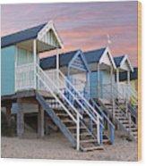Beach Huts Sunset Wood Print