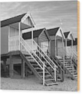 Beach Huts Sunset In Black And White Wood Print