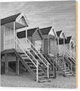 Beach Huts Sunset In Black And White Square Wood Print