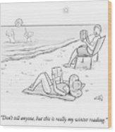Beach Reading Wood Print