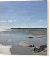 Beach Scene On A Sunny September Afternoon  Wood Print