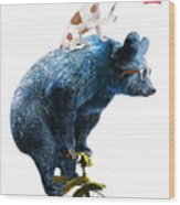 Bear And Dog Circus Show Illustration Wood Print