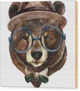 Bear Head Watercolor Wood Print