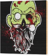 Bearded Zombie Undead With Beard Halloween Party Dark Wood Print