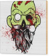 Bearded Zombie Undead With Beard Halloween Party Light Wood Print