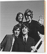 Beatles Arriving At Los Angeles Airport Wood Print