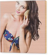 Beautiful Beach Babe Over Studio Background Wood Print
