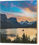 Beautiful Colorful Sunset Over St. Mary Wood Print