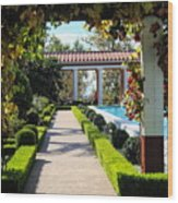 Beautiful Courtyard Getty Villa  Wood Print