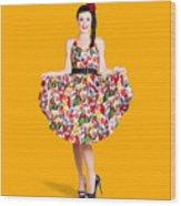 Beautiful Dancing Woman In Retro Red Dress Wood Print