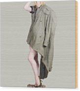 Beautiful Military Pinup Girl. Classic Beauty Wood Print